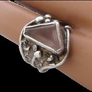 Artist Hand Wrought Sterling Triangular Amethyst Ring Sz 6