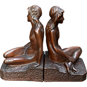 Art Bronze Nude Bookends KBW Art Nouveau Bronze Clad 9.5""