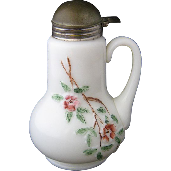 Ca 1900 Art Glass Syrup Pitcher Raised Floral Pattern