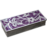 Asian Hammered Silver Trinket Box Purple Enamel Butterfly Flowers