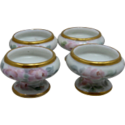 Set 4 Vienna Austria Porcelain Salt Dips HP Roses Early 1900s
