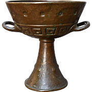 Arts & Crafts Hammered Bronze Big Goblet Two Handles Early 1900s
