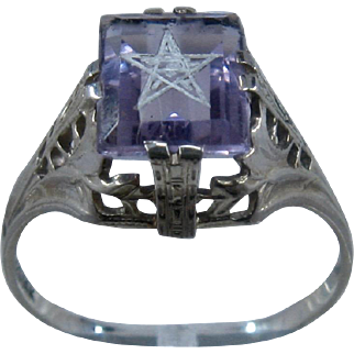 Art Deco 14K White Gold Amethyst Filigree Ring w/ Star A&S Sz 7