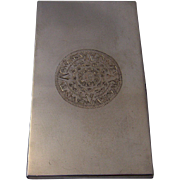 Long Mexican Sterling Cigarette Case w/ Aztec Calendar