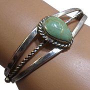 Vintage Navajo Sterling Green Turquoise Cuff Signed BF Sz 6 1/4""