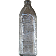 1930s Glass Baby Bottle Embossed w/ Bunny Rabbits Hazel Atlas