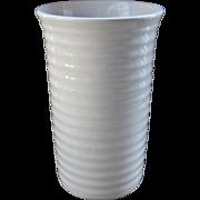 """1937 Bauer White Hi-Fire Ring Cylinder Vase 10"""" Size"""