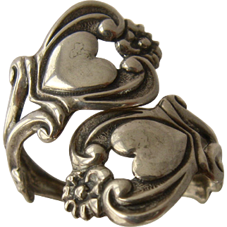 1960s Beau Sterling Two Hearts By-Pass Ring Adjustable