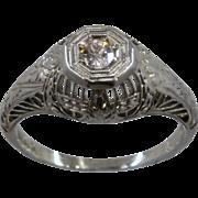 Art Deco Belais 18K WG Diamond Engagement Ring Sz 6 1/4