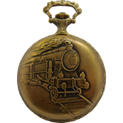 1970s Belle Suiisse Train Pocket Watch Hunter Case Wind-Up Runs Well