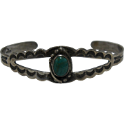 1960s Bell Trading Navajo Sterling Turquoise Cuff Bracelet Sz 6