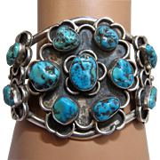 Large Navajo Sterling Turquoise Nuggets Cluster Cuff Bracelet Sz 6 3/4