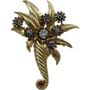 Large 1960s Bouquet Pin Multi Color Rhinestone Flowers Gilded