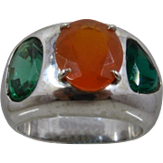 Huge 14K White Gold Fire Opal & Emeralds Ring Sz 10 1/4