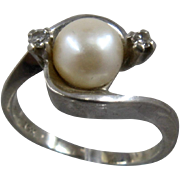 Birks Canada 14K Pearl Diamonds White Gold Ring Sz 5 3/4
