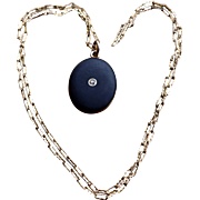 Ca 1900 14K Black Enamel Diamond Locket w/ Chain