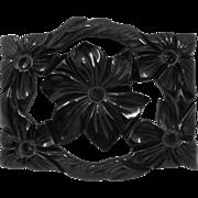 Ca 1940s Black Bakelite Rectangle Carved Flower Pin