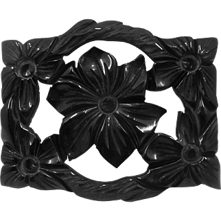 Ca 1940s Black Bakelite Rectangle Carved Flower Pin