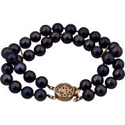 14K Double Strand 7.5mm Black Pearl Bracelet 7""