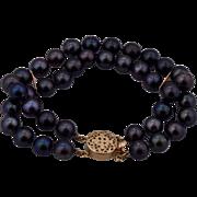 "14K Double Strand 7.5mm Black Pearl Bracelet 7"""