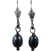 Sterling  Black Freshwater Pearl Earrings Lever Back