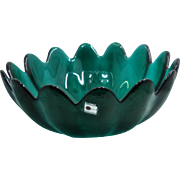 Blenko Sea Green Lotus Flower Salad Serving Bowl w/ Label