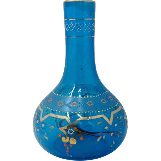 Late 1800s Bohemian Blue Glass Gilded Jeweled Enamel Vase Bottle