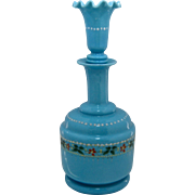 Late 1800s Bristol Blue Enameled Decanter Perfume Cologne Bottle w/ Fluted Stopper