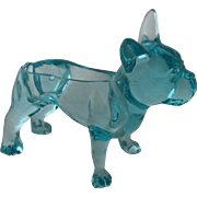Blue Glass Boston Terrier French Bulldog Planter Cache Box