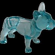 Blue Glass Boston Terrier French Bulldog Planter Cache Box