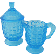 Blue Waffle & Button Kemple Glass Mini Sugar Creamer
