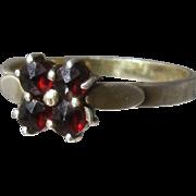 Ca 1930 Czech Bohemian Garnets 900 Silver Ring Sz 7 3/4