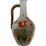 """Early 1900s Austrian Porcelain Ewer Hand Painted Gilt Poppies 11.5"""" H"""
