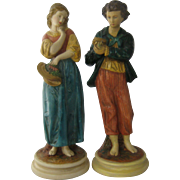 Pair Borghese Chalkware Figurines Peasant Boy & Girl 10""
