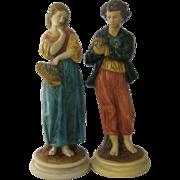 "Pair Borghese Chalkware Figurines Peasant Boy & Girl 10"""