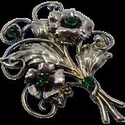 Large 1940s Sterling GF Flower Bouquet Brooch Pin