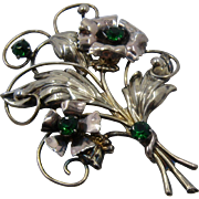 Large 1940s Sterling GF Flower Bouquet Brooch Pin