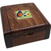 Hardwood Trinket Box w/ Inlaid Butterfly Tile