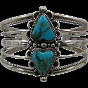 Navajo Sterling Double Heart Turquoise Cuff Bracelet G Boyd Sz 7 1/2