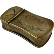 Early 1900s Brass Match Safe Vesta Hinged Top Etched Design