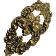 Art Nouveau Brass Repousse Daffodil Pin