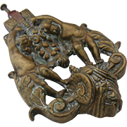 Antique Victorian Large Bronze Doorknocker w/ Cherubs