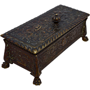 1880s Bronze Stamp Box w/ Paw feet 4 Compartments