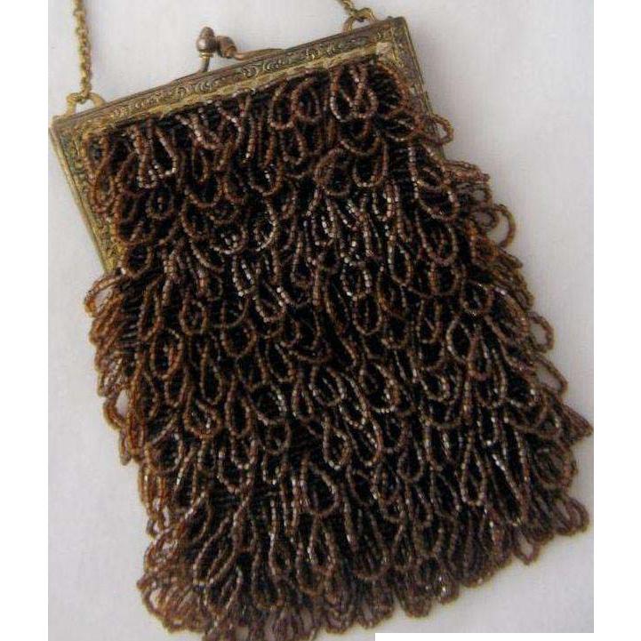 ca 1920 Swag or Shaggy Caramel Brown Beaded Bag Purse
