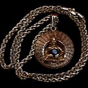 "Heavy 14K Sitting Buddha w/ Star Sapphire Rope Chain 20"" 19.4 Grams"