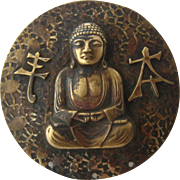 Arts & Crafts Hammered Bronze Buddha Pin Early 1900s