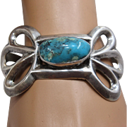 Navajo Sand Cast Sterling Turquoise Butterfly Cuff Bracelet