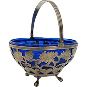 Ca 1900 Sterling Sugar Basket w/ Cobalt Liner Merrill for Caldwell