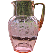 1920s Cambridge Glass Windows Border Water Pitcher Pink Etched