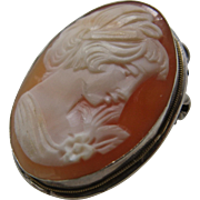 Ca 1930s 800 Silver Shell Cameo Pin Pendant